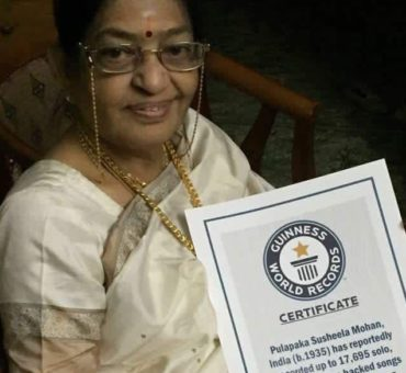 Popular South Indian singer P Susheela, with hits in Telugu & Tamils sets a Guinness World Record for the most studio recordings.