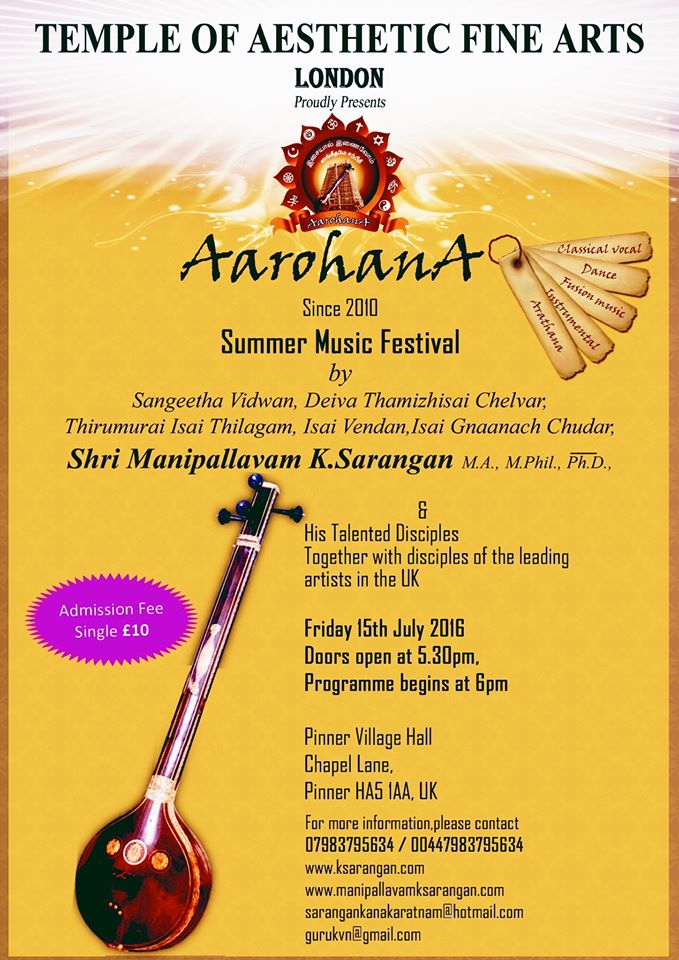 a summer music festival featuring leading artistes in the UK & their disciples