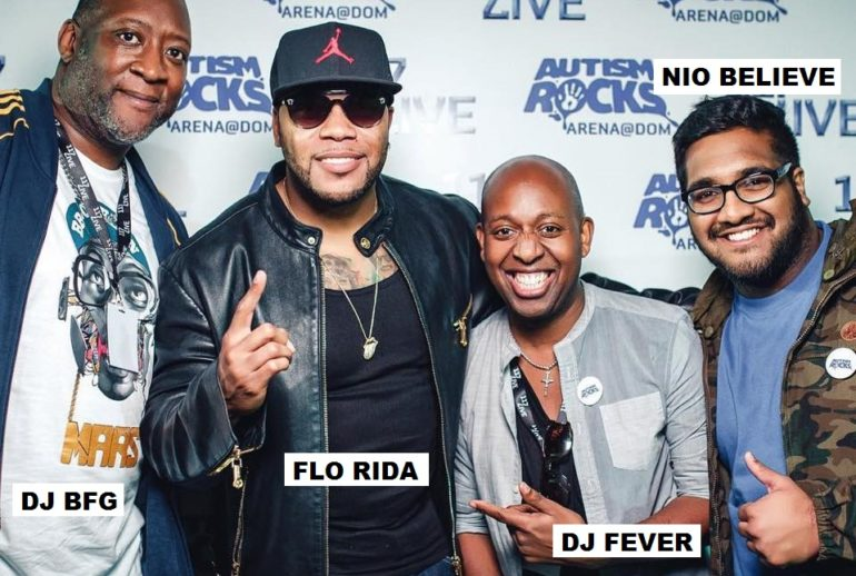 NIO BELIEVE Backstage with Flo Rida at his residency in Dubai for Autism Rocks