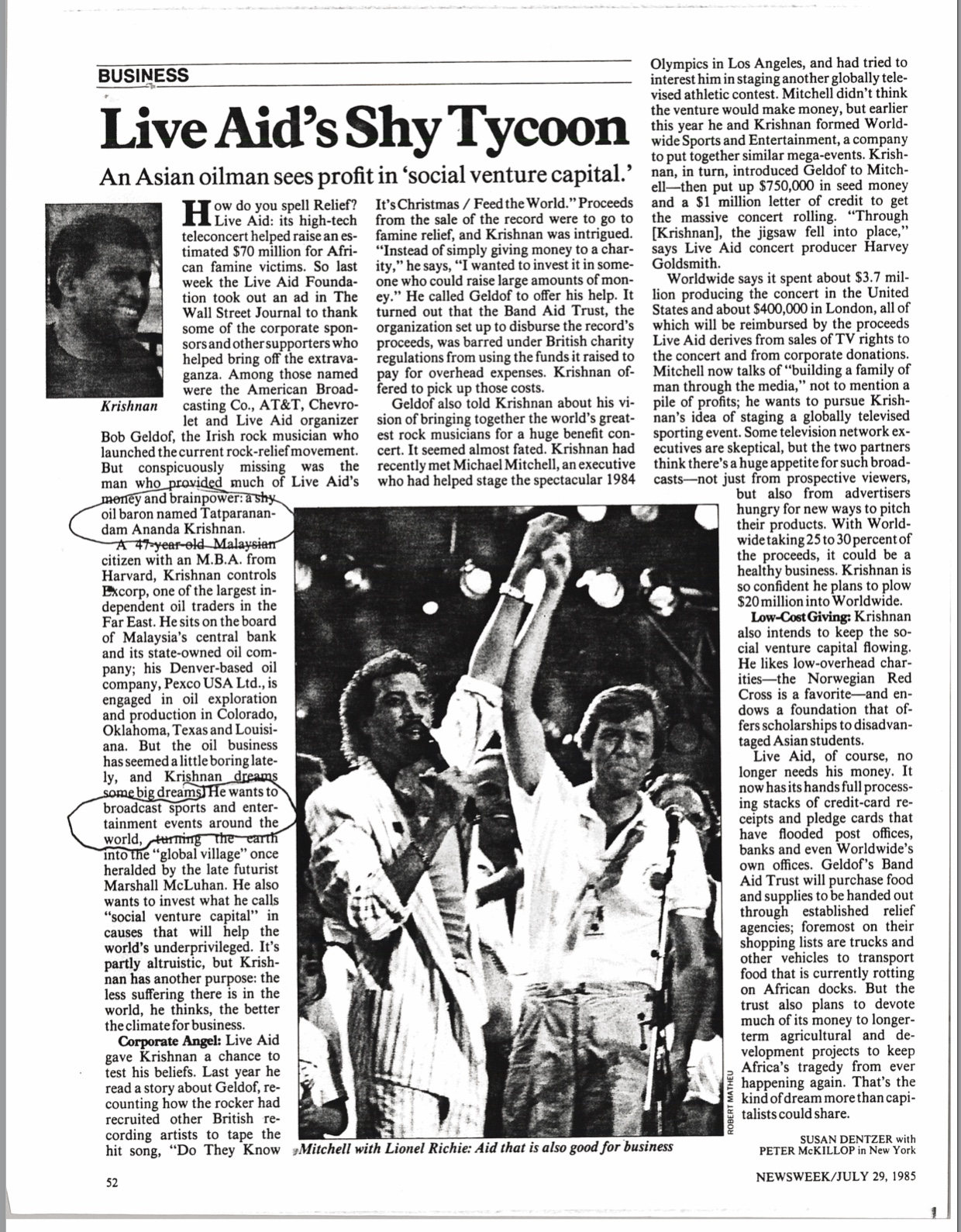 Newsweek article about ananda Krishnan