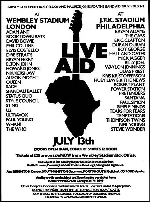 Live aid 1985 artist roster